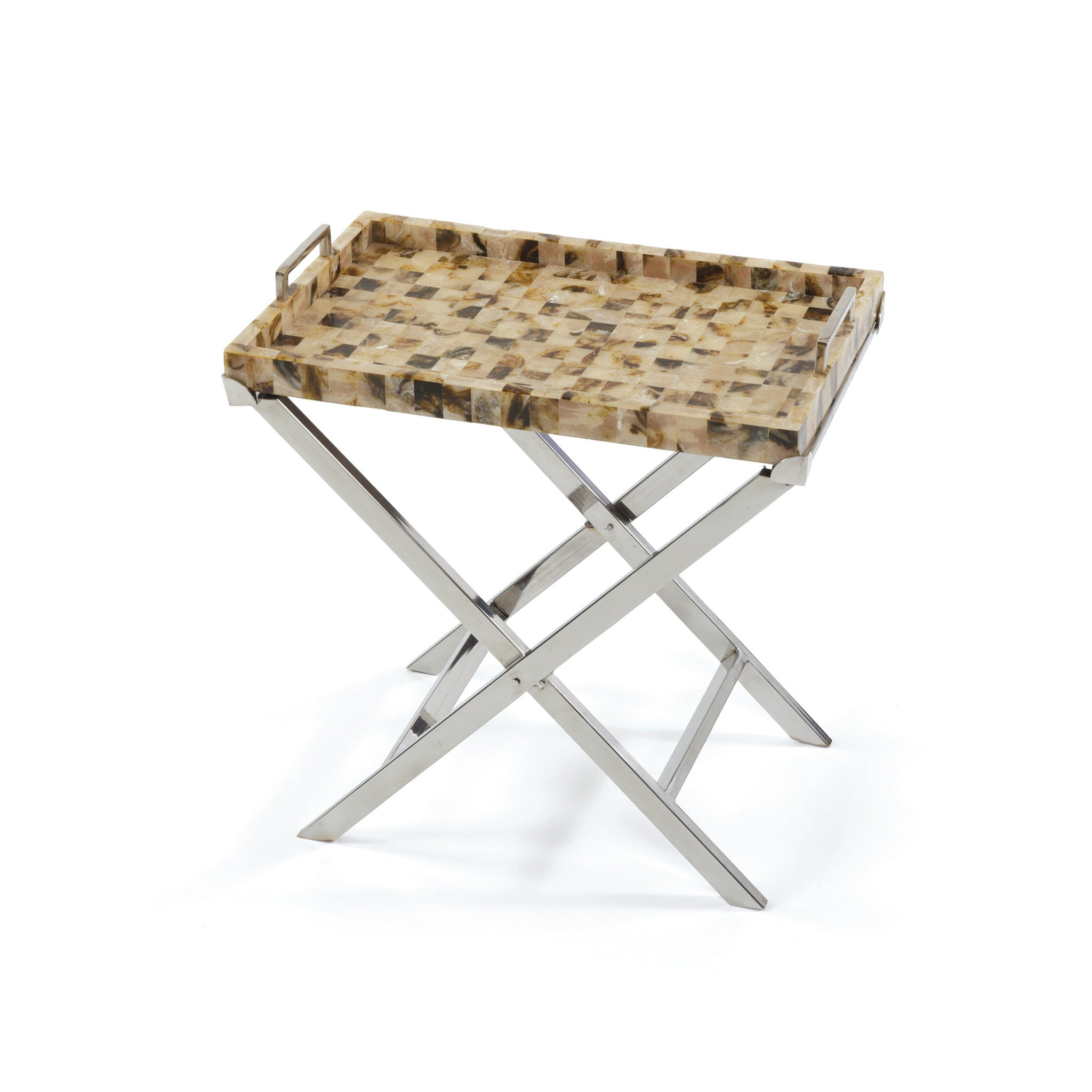 Crosby Tray Side Table With Natural Polished Horn Top On Polished Nickel  Base Side Tables