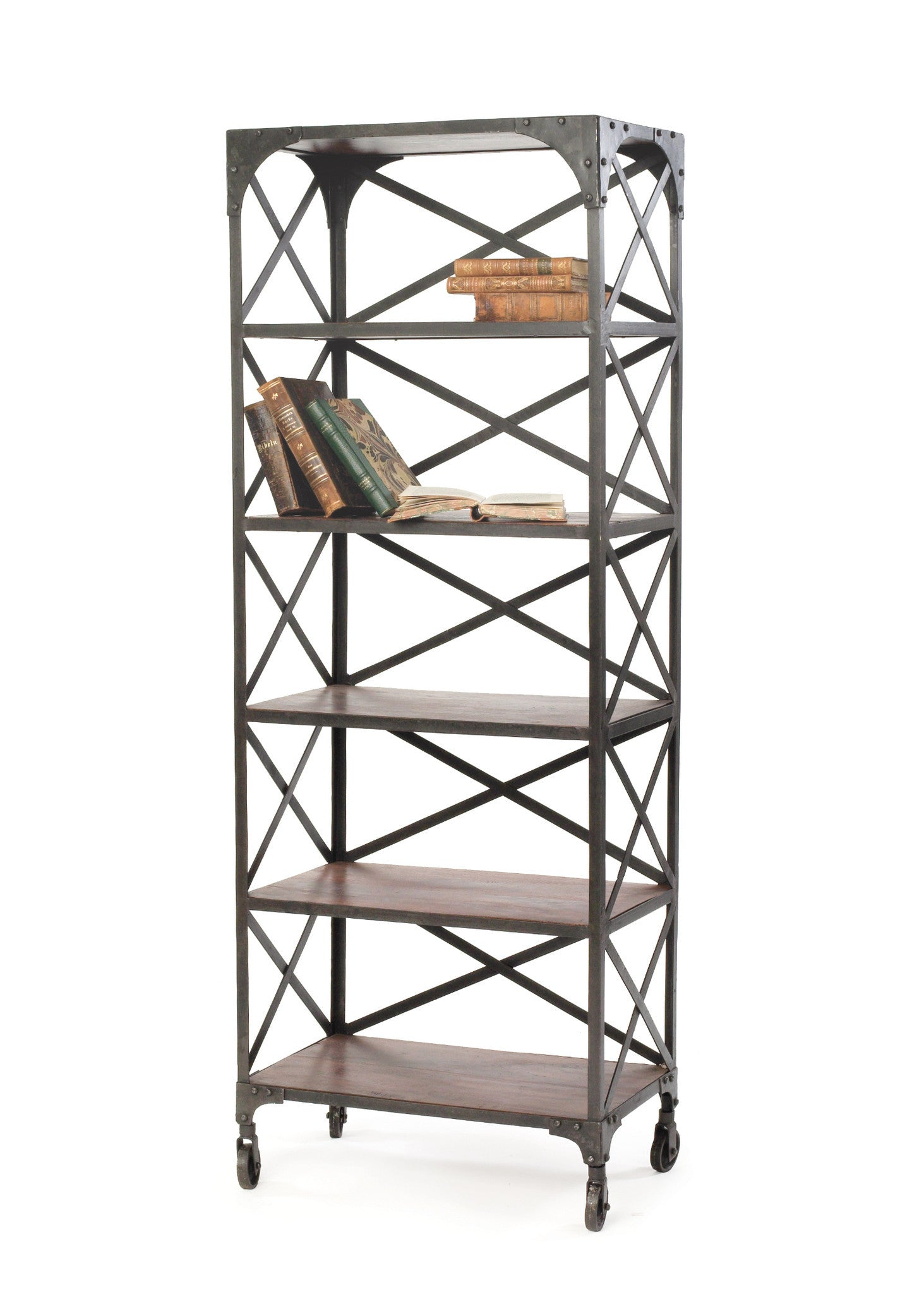 Crossed Back Bookcase With Wood Shelves In Metal Frame