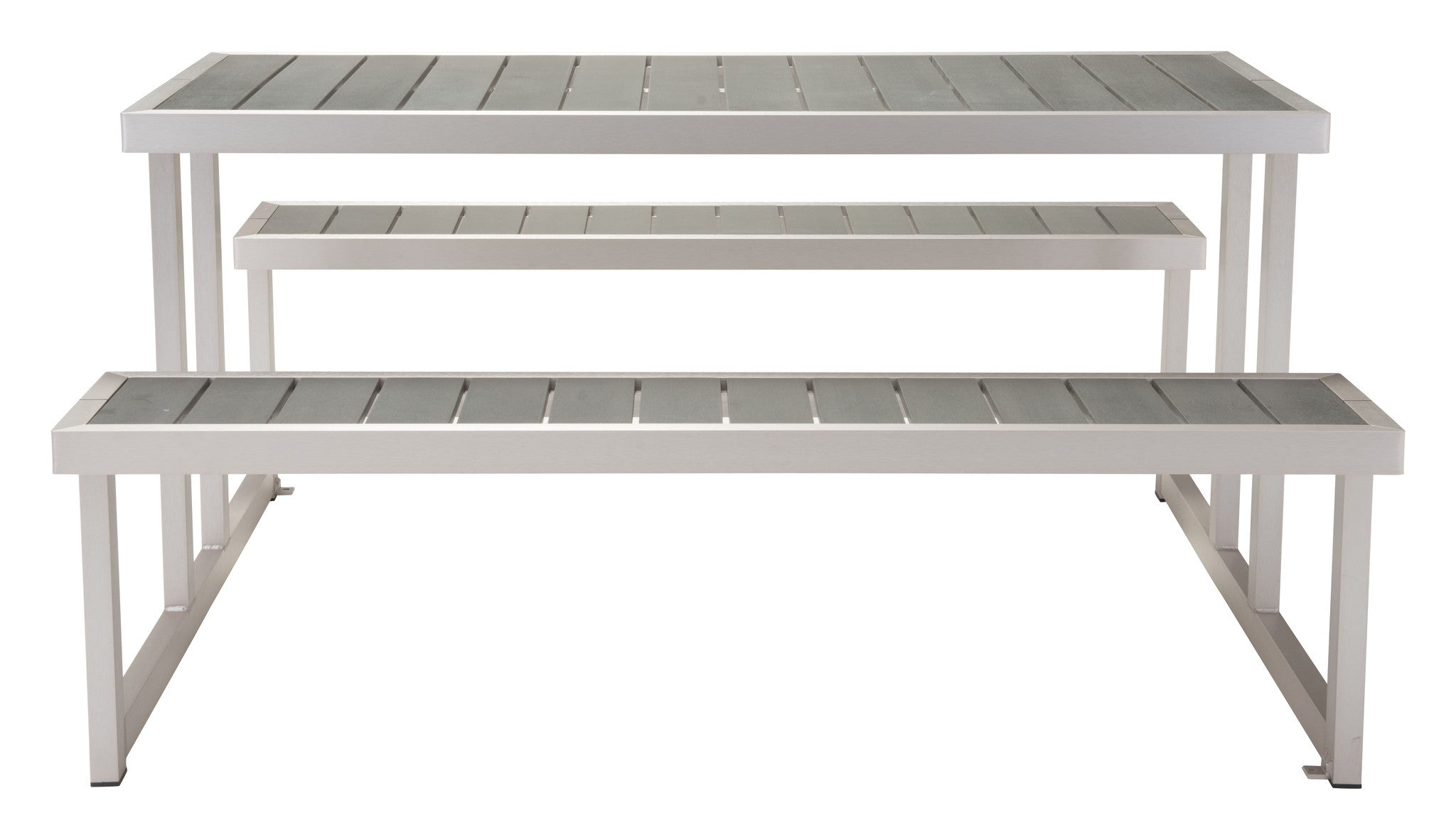 ... Cuomo Picnic Table U0026 Benches With Poly Wood Tops On Galvanized Aluminum  Frame Outdoor Tables ...