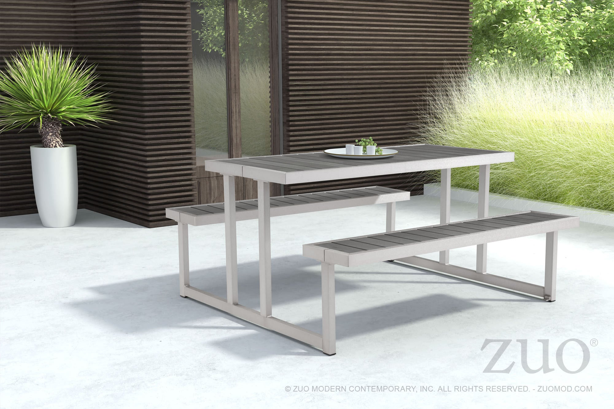 ... Cuomo Picnic Table U0026 Benches With Poly Wood Tops On Galvanized Aluminum  Frame Outdoor Tables