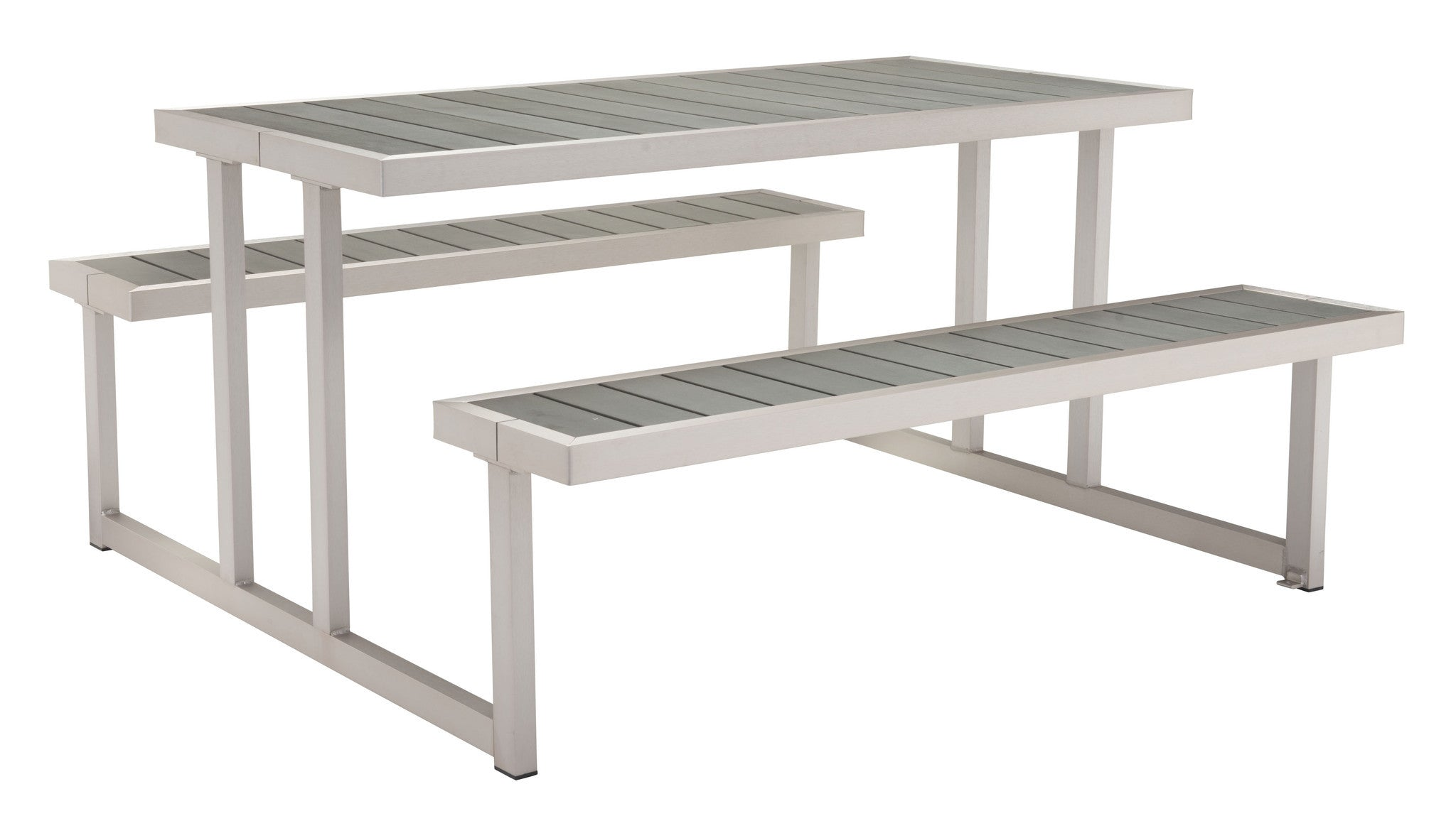 Cuomo Picnic Table & Benches with Poly Wood Tops on Galvanized Aluminu