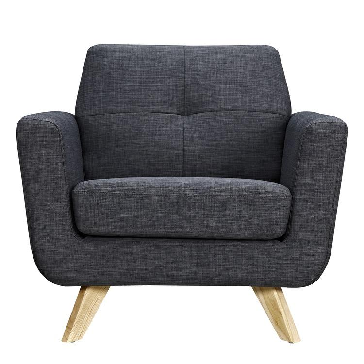 ... Dania Armchair In Charcoal Gray Fabric With Natural Leg Arm Chairs Alan  Decor ...