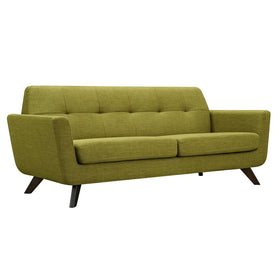 Dania Sofa In Avocado Green Fabric With Walnut Leg Sofas Alan Decor