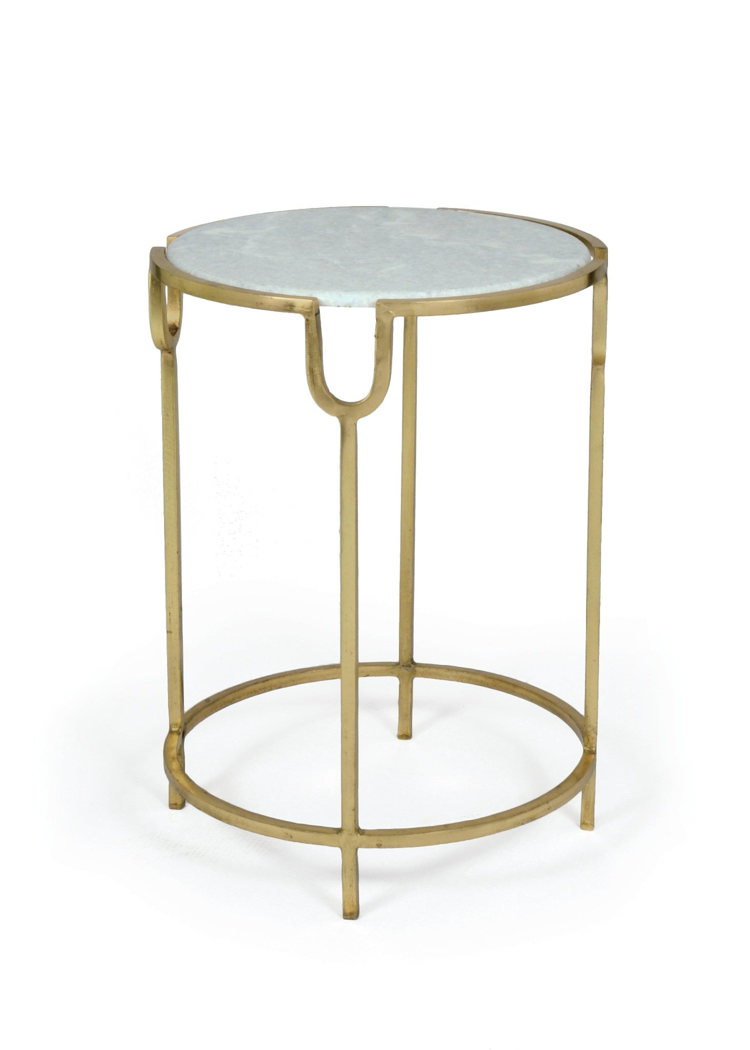 Darling Iron Side Table with Marble Top on Brass Base