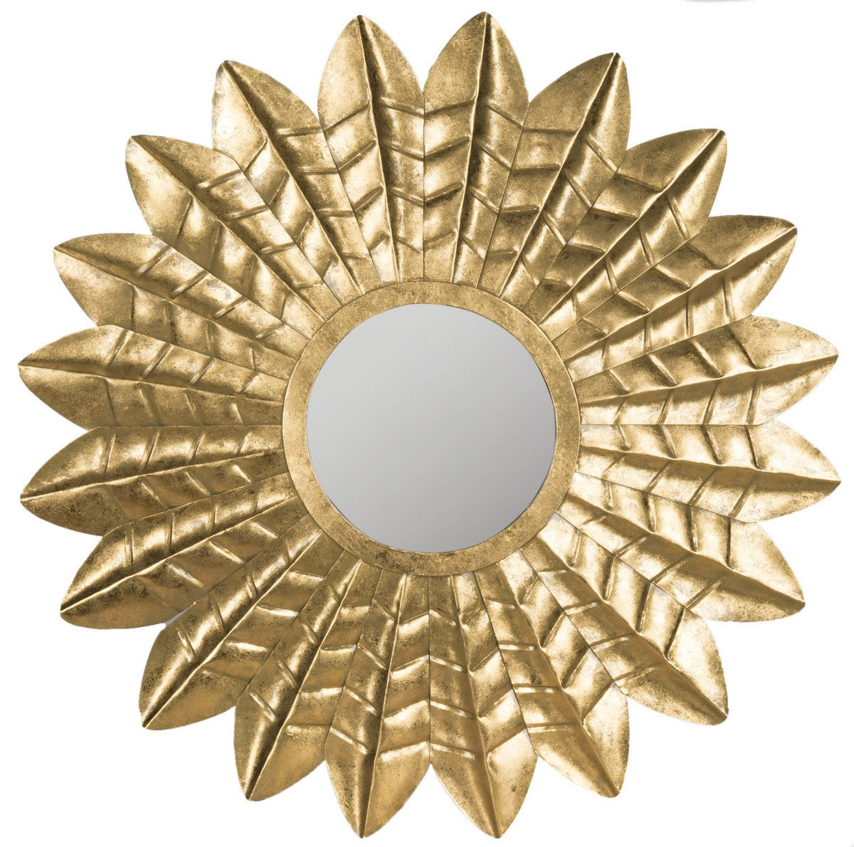 Deco Leaf Mirror in Antique Gold Iron and Wood