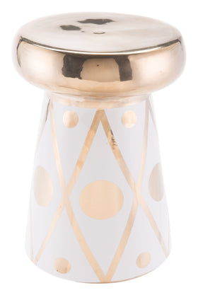 Dots Garden Stool In Gold And White Outdoor Stools Alan Decor