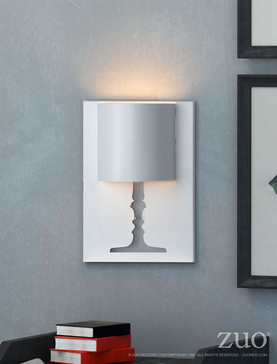 ... Dream Wall Lamp In White Shade U0026 Painted Metal Sconces Alan Decor