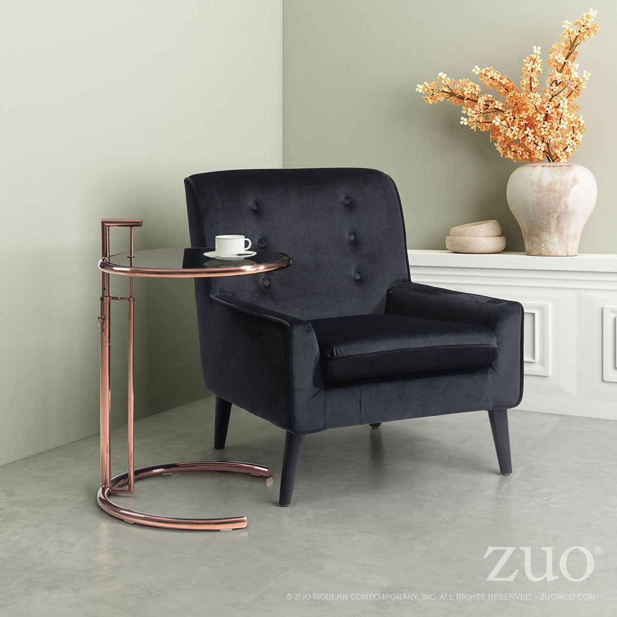 Eileen Grey Side Table in Rose Gold Steel with Black Tempered Glass Top