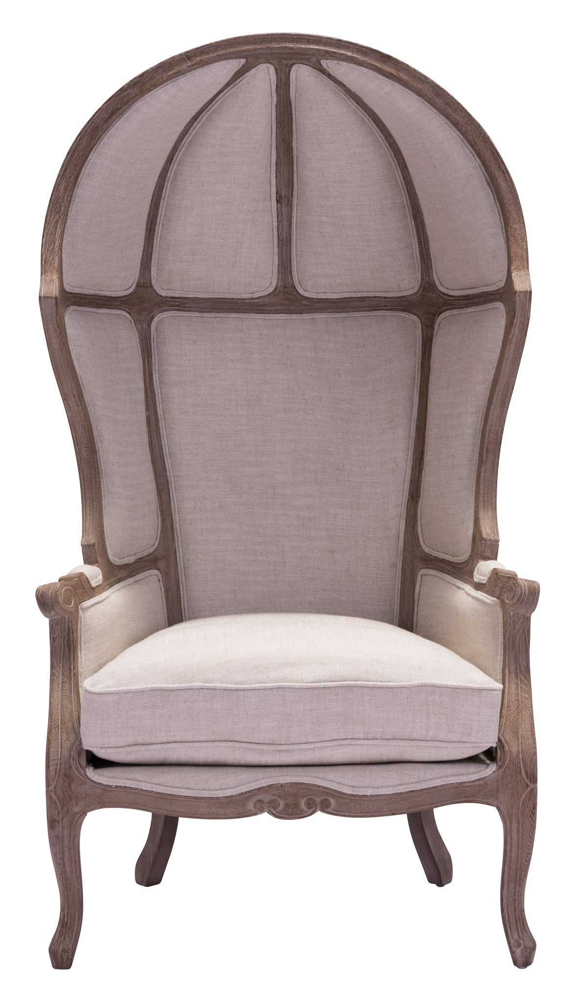 Ellis Extra Tall Chair with Sculpted Wood Frame & Beige Fabric