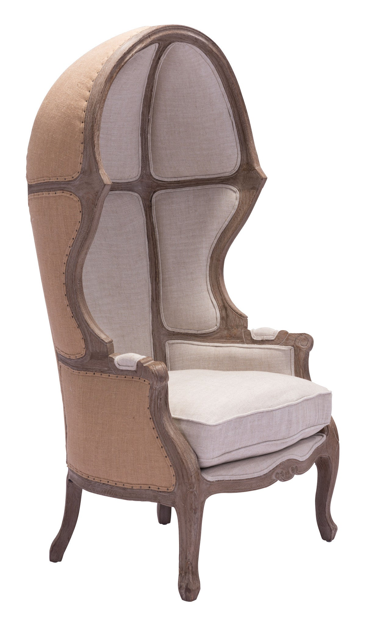 Ellis Extra Tall Chair with Sculpted Wood Frame u0026 Beige Fabric-Accent Chairs-Alan ...  sc 1 st  Alan Decor & Ellis Extra Tall Chair with Sculpted Wood Frame u0026 Beige Fabric