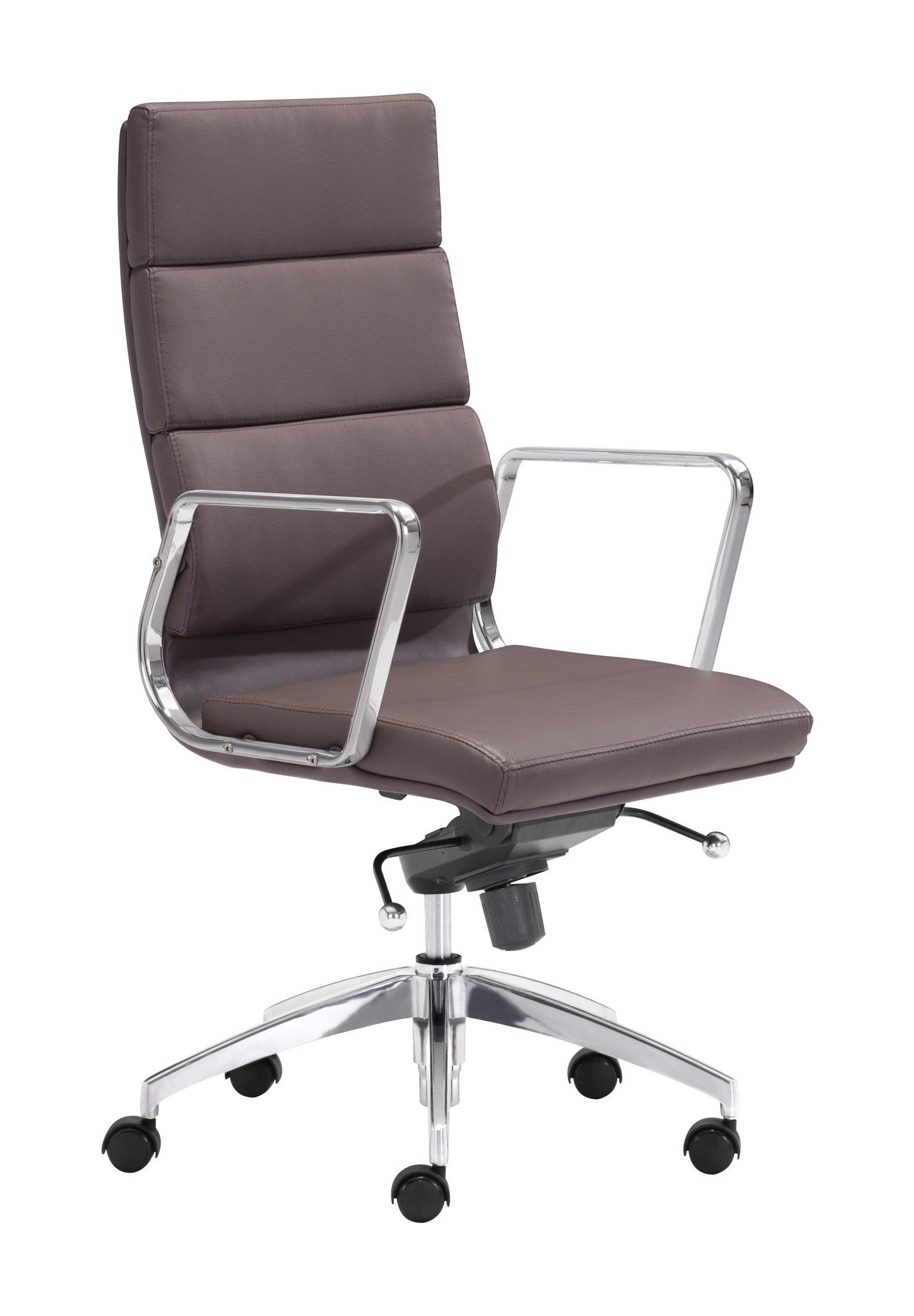 engineer high back office chair in espresso leatherette with chrome fr