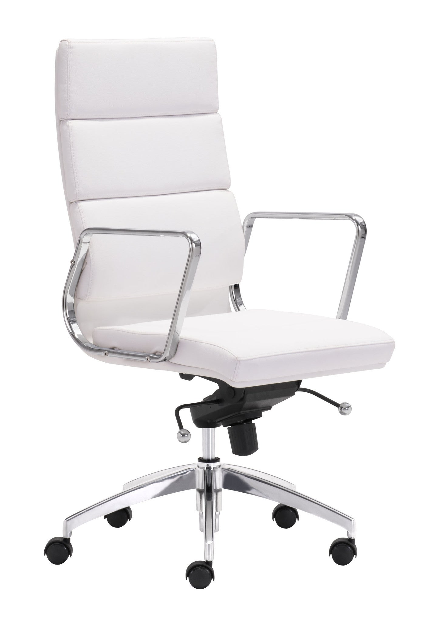 engineer high back office chair in white leatherette with chrome frame