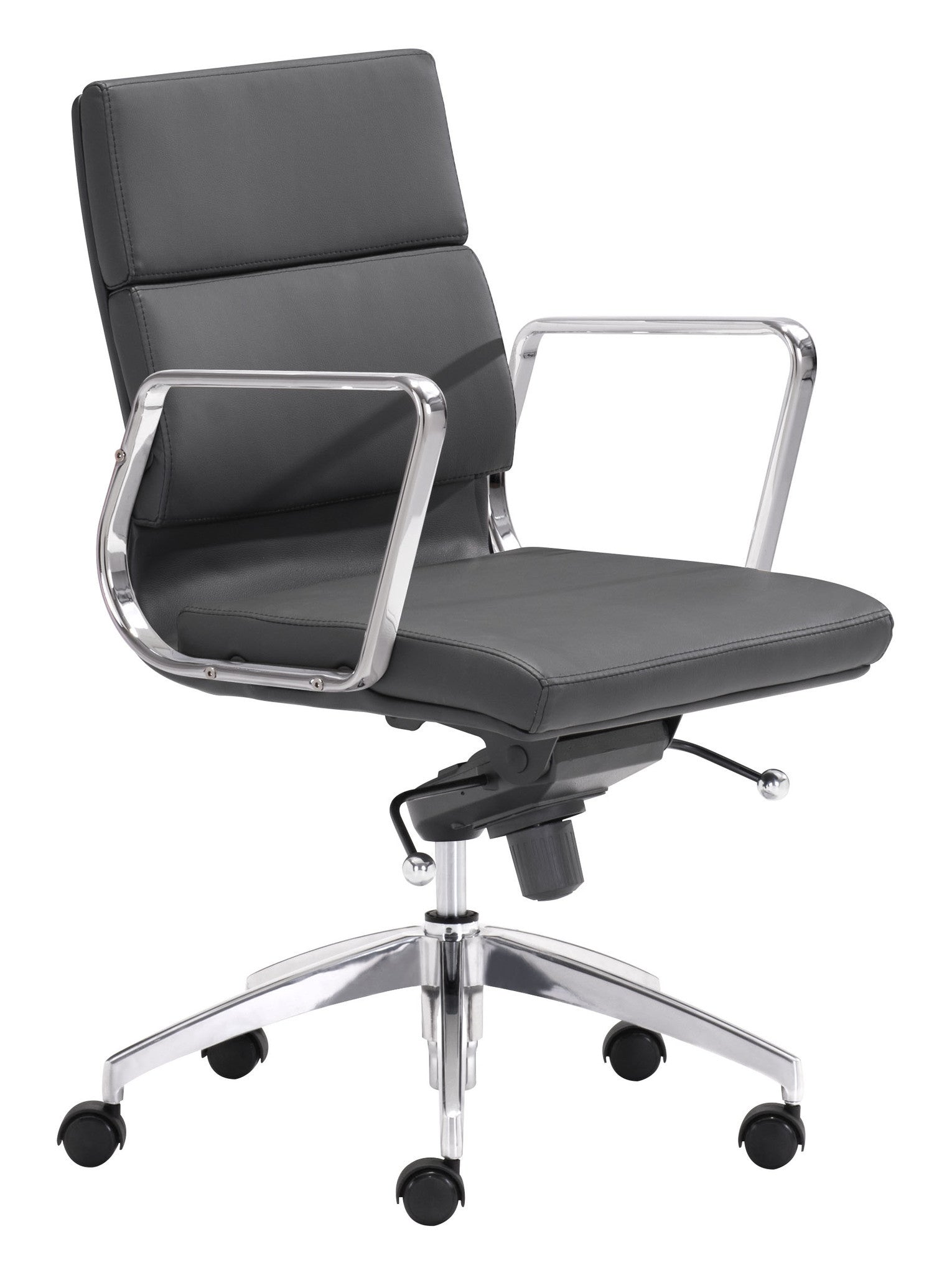 engineer low back office chair in black leatherette with chrome frame