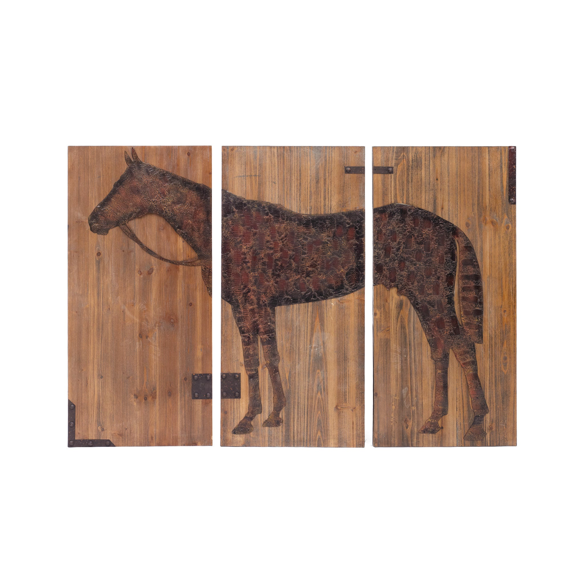 equestrian print wall art in metal and wood. Black Bedroom Furniture Sets. Home Design Ideas