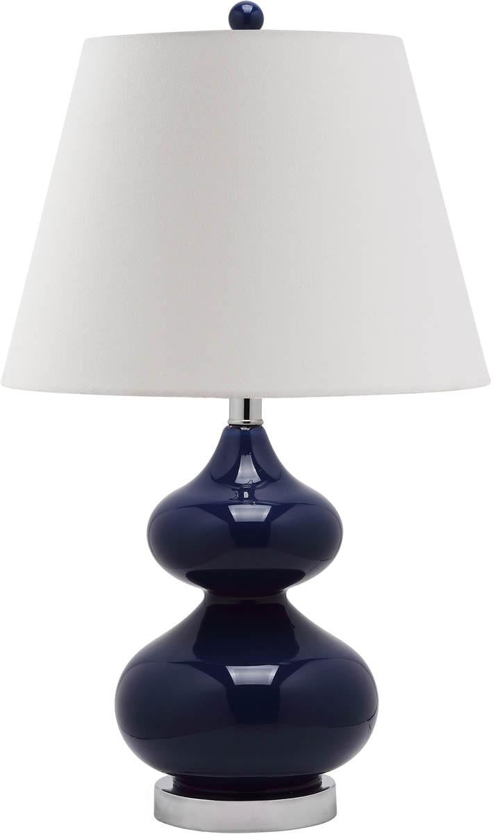 Eva Double Gourd Glass Table Lamp in Navy with Cream Shade (Set of 2)