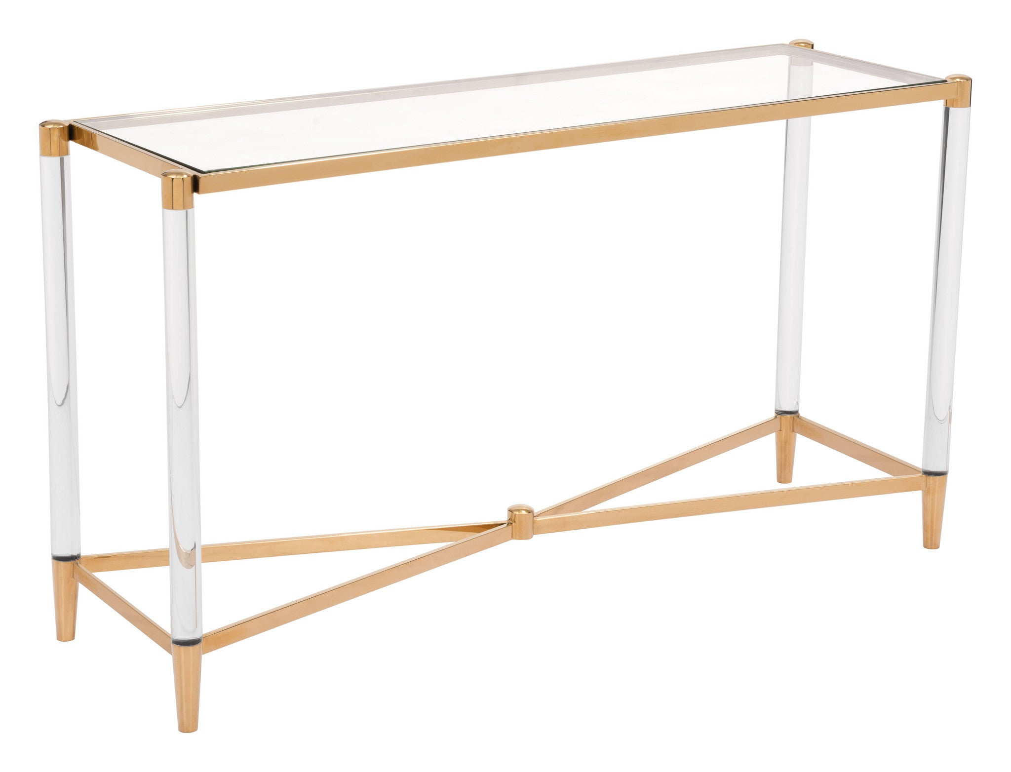 Existential Console Table In Gold Stainless Steel U0026 Tempered Glass Console  Tables Alan Decor ...