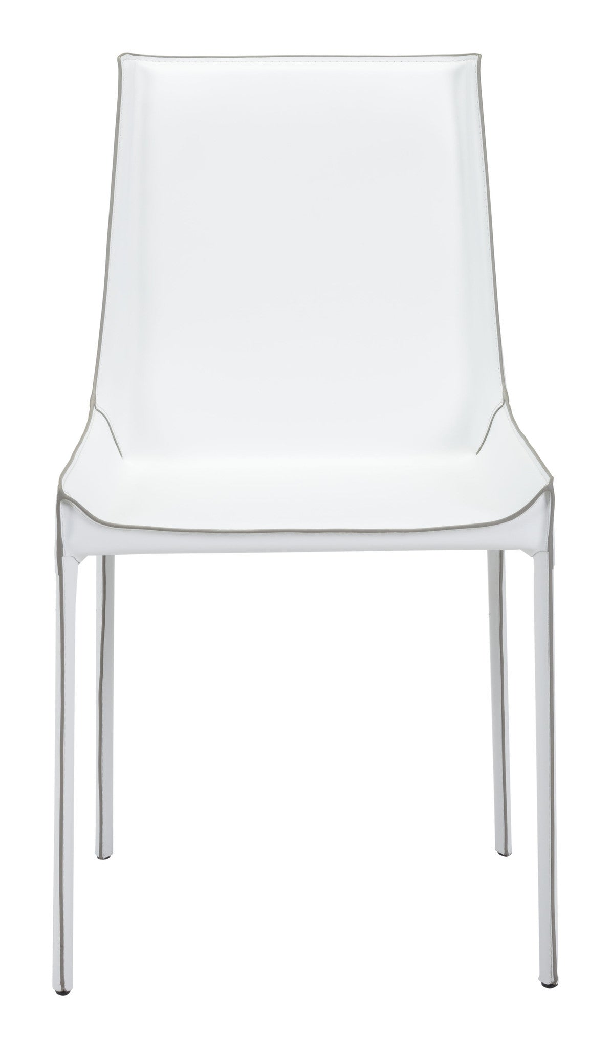 ... Fashion Dining Chair In White Recycled Leather With Exposed Seam (Set  Of 2)  ...