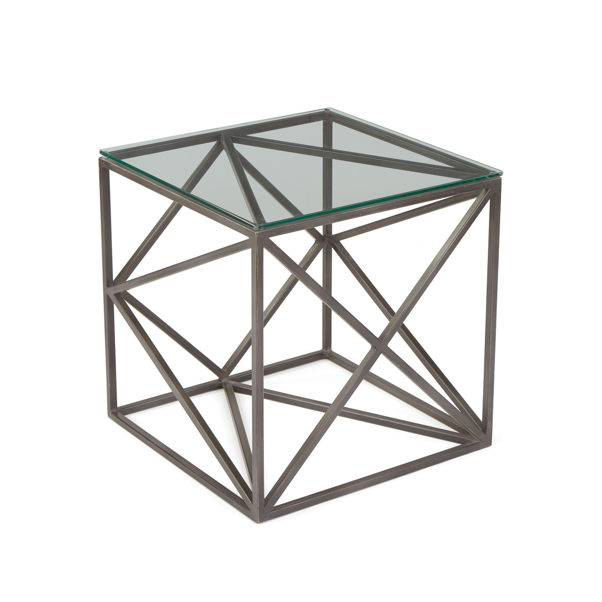 Hanover Glass Side Table With Glass Top On Geometric Iron Base - Geometric base coffee table