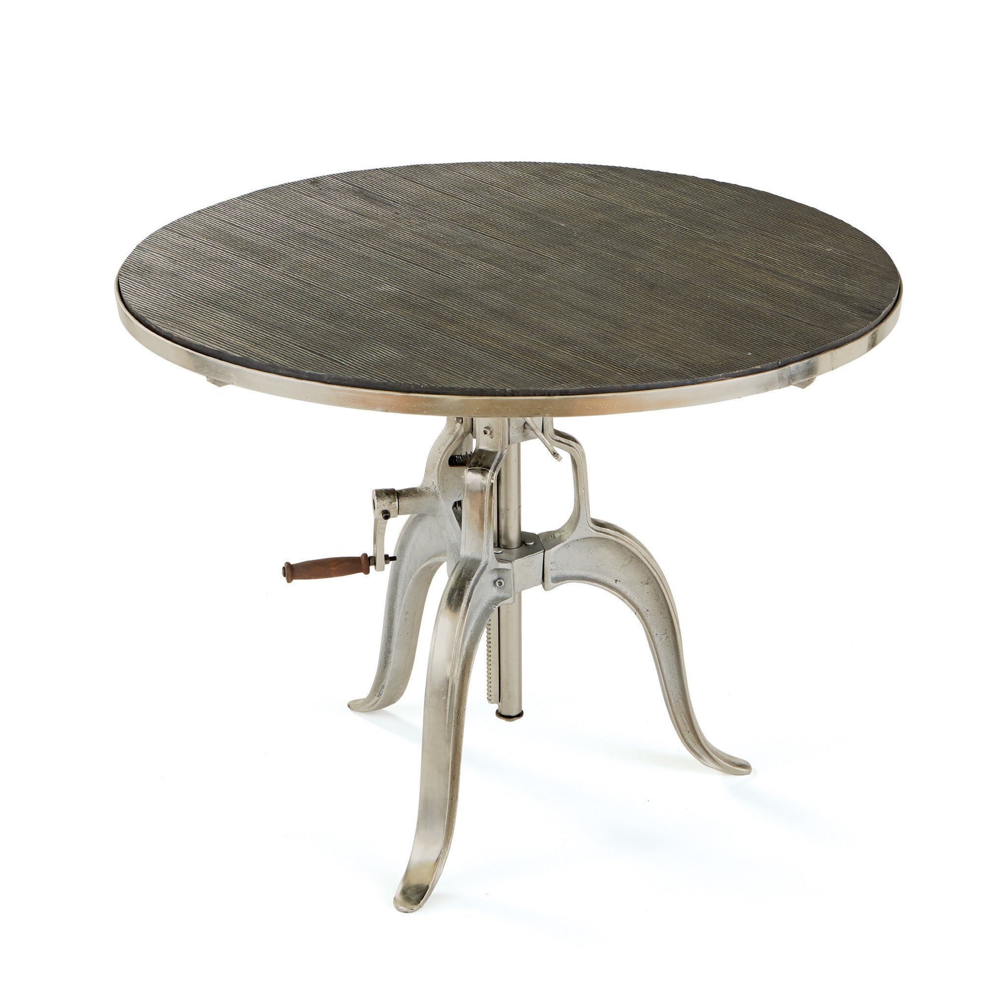 Hawley Adjustable Round Dining Table With Mango Wood Top On Nickel Base Dining  Tables