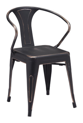 Helix Dining Chair In Antique Black Gold Steel Set Of 2 Chairs