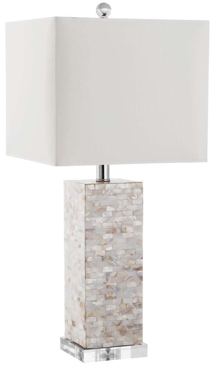 Homer Table Lamp In Natural Capiz Shell With White Shade (Set Of 2)  ...