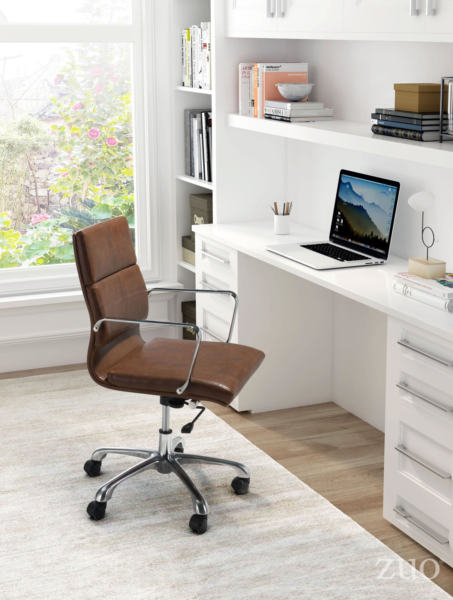 ithaca office chair in vintage brown leatherette on aluminum base
