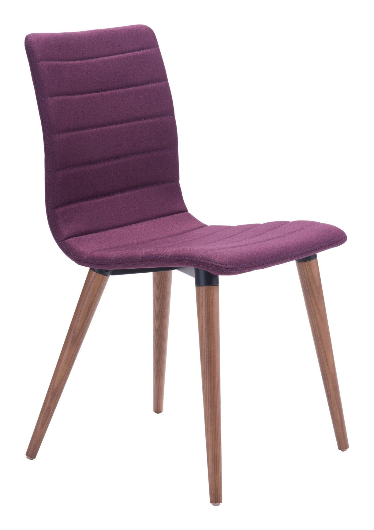 Jericho dining chair in purple fabric on tapered wood legs set of 2