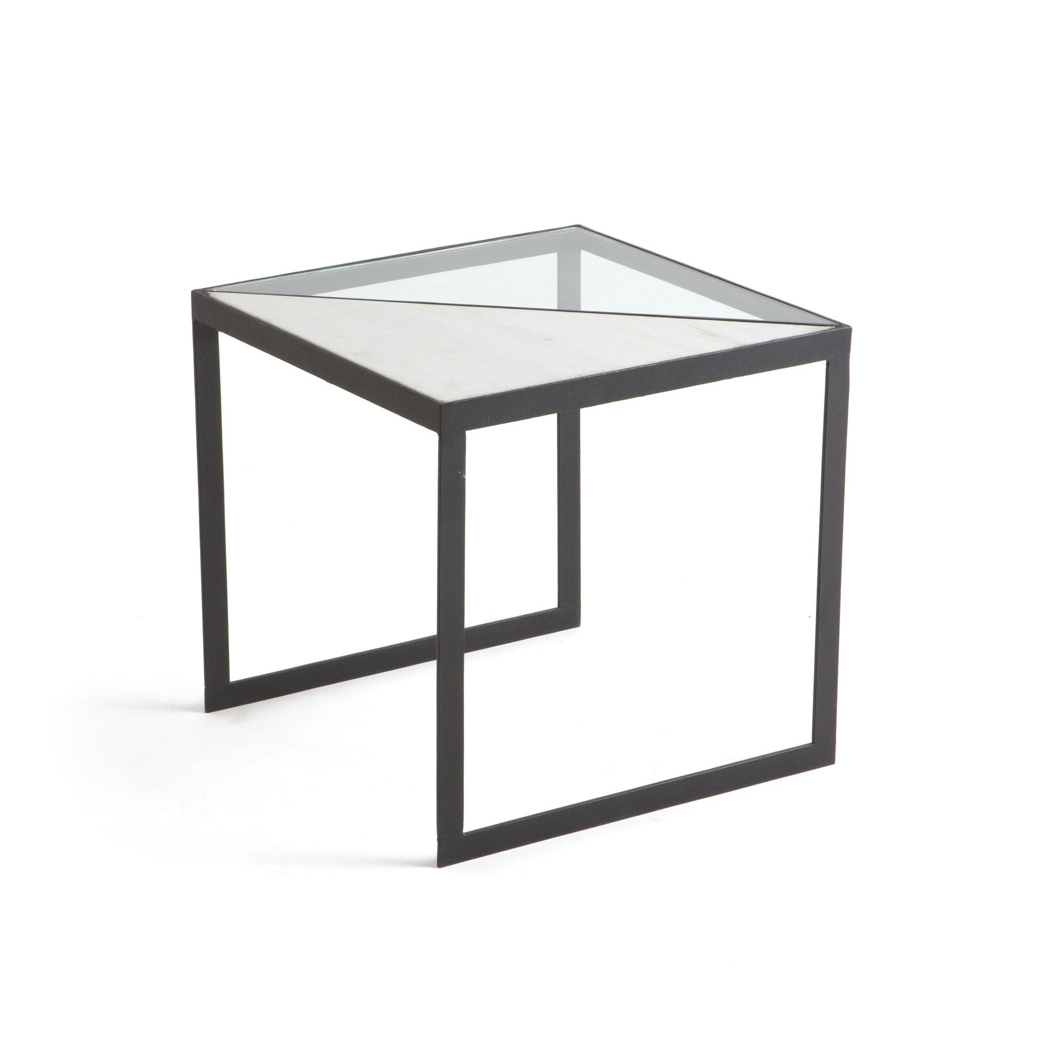 Julian Side Table In Matte Iron With Glass U0026 White Marble Top Side Tables