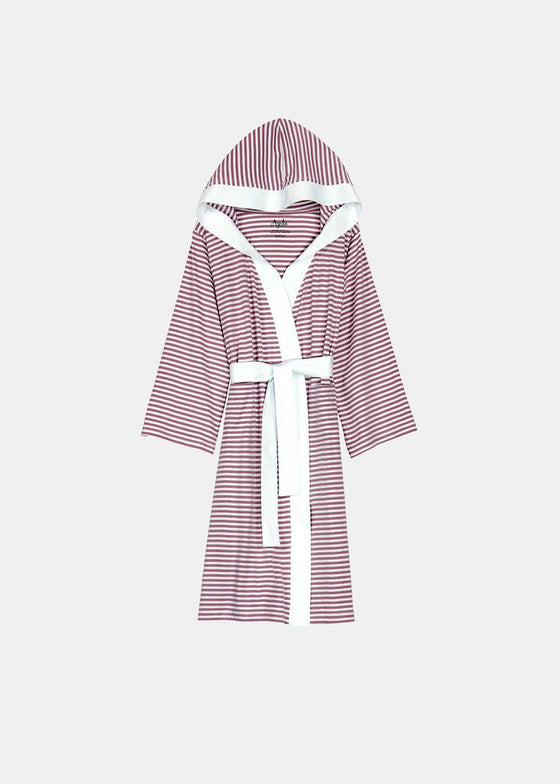 d1d32eb3e2 Knee Length Striped Jersey Knit Robe in White and Lavender-Bathrobes-Alan  Decor