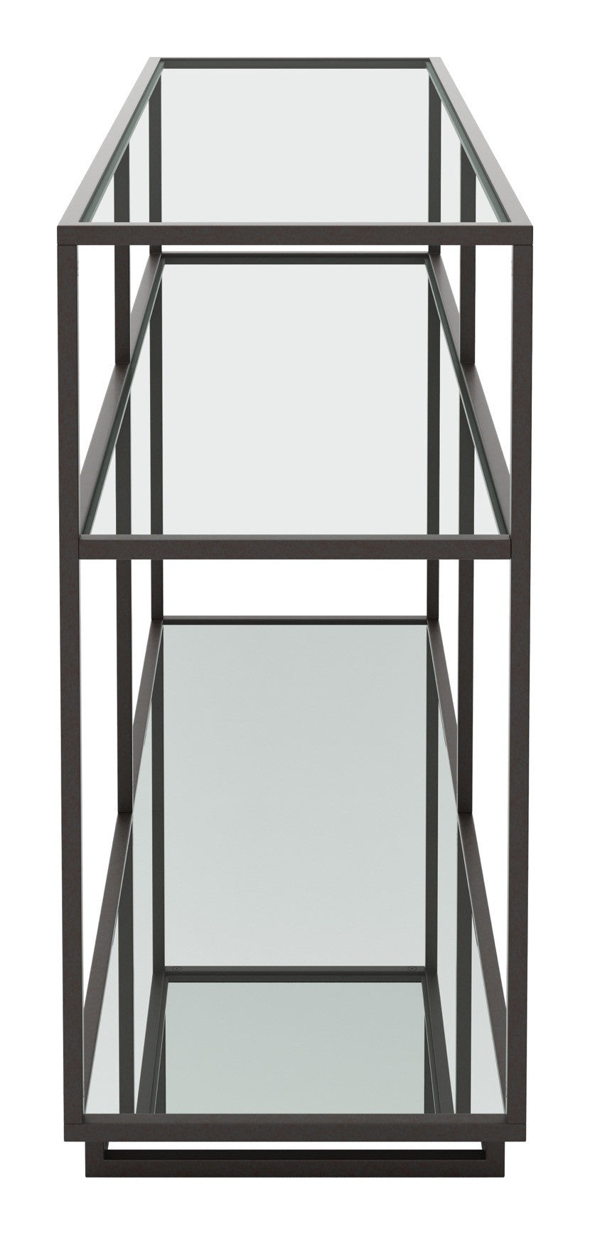 Kure console table in distressed black steel mirror tempered glass kure console table in distressed black steel mirror tempered glass console tables geotapseo Gallery