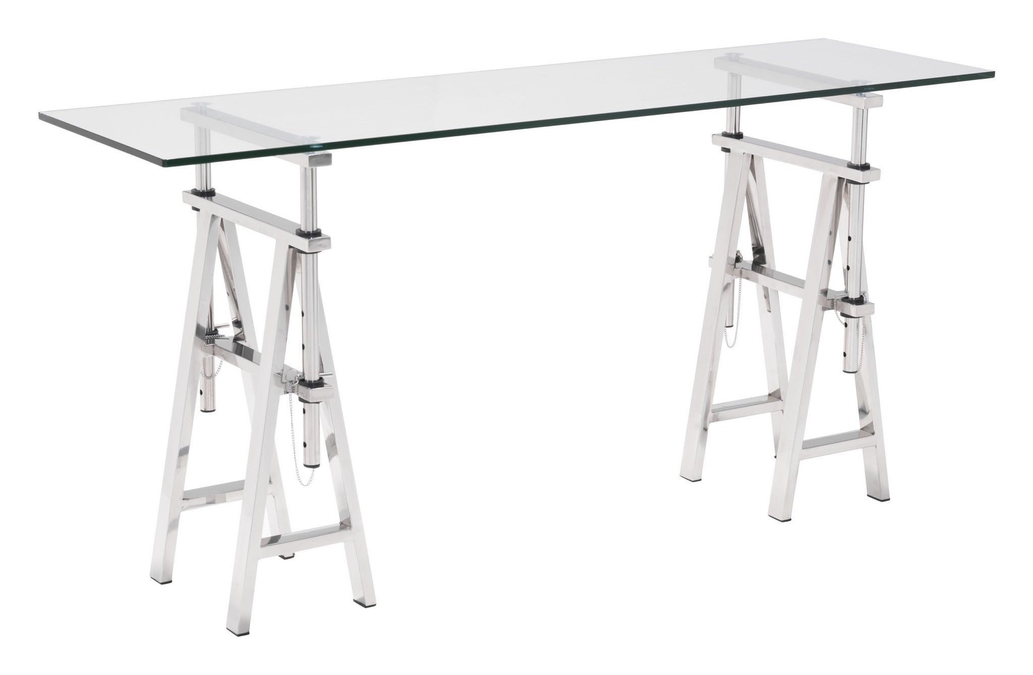 Lado Console Table With Stainless Steel Trestle Legs U0026 Tempered Glass Top Console  Tables  ...