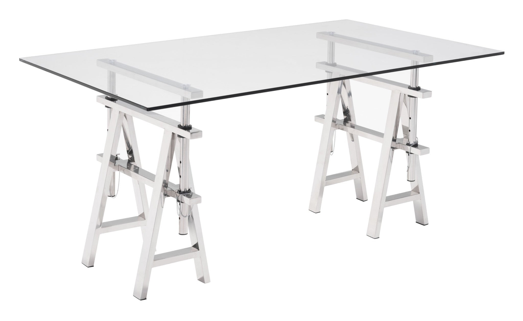 Lado Desk With Stainless Steel Trestle Legs Tempered Glass Top