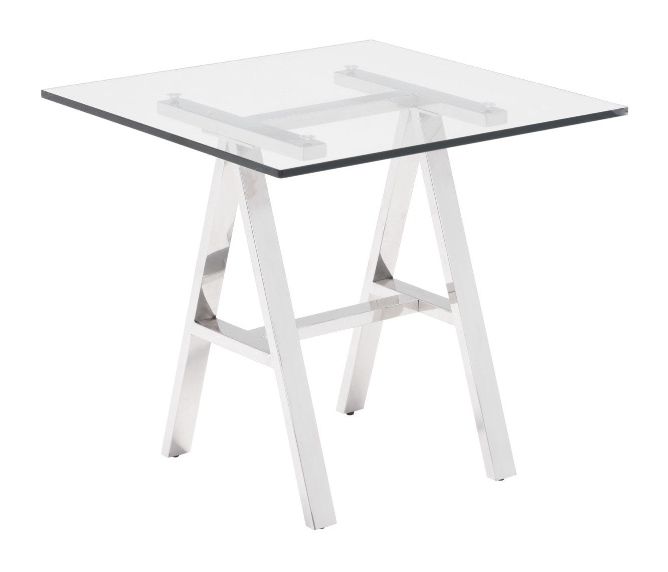 Lado Side Table With Stainless Steel Trestle Legs U0026 Tempered Glass Top Side  Tables  ...
