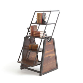 Attirant Lannister Convertible Console Table / Bookcase In Stained Iron And Wood  Bookcases Alan Decor
