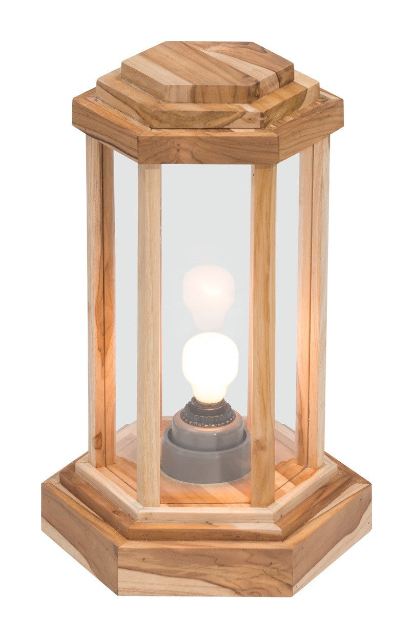 Latter Small Outdoor Floor Lamp In Natural Teak Glass