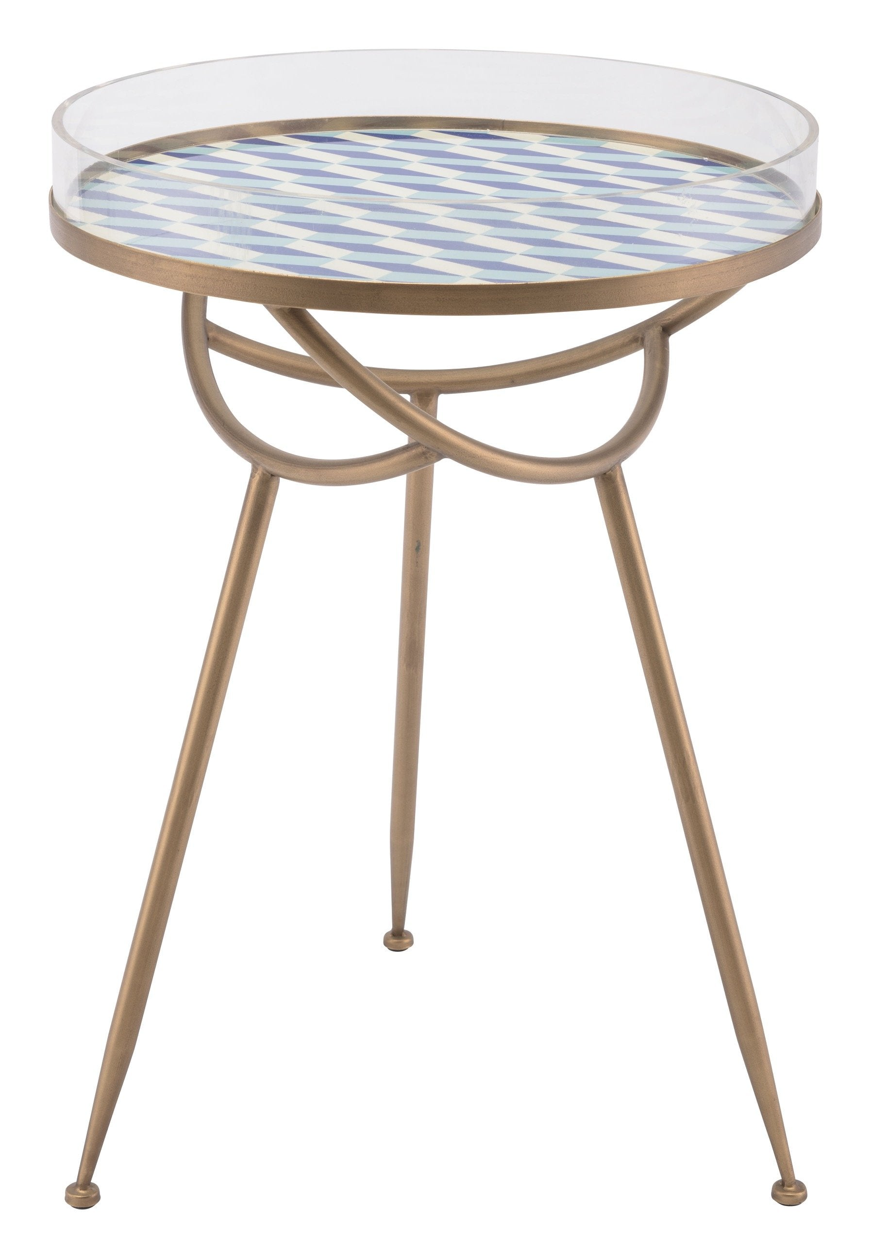 Lattice Round Table In Blue And Gold With Removable Tray Top Side Tables  Alan