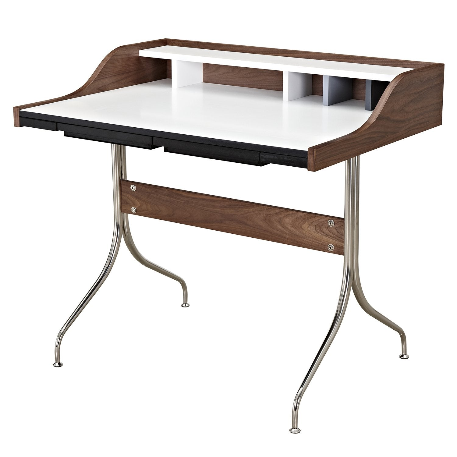 liam desk in walnut with multi color blue gray white dividers