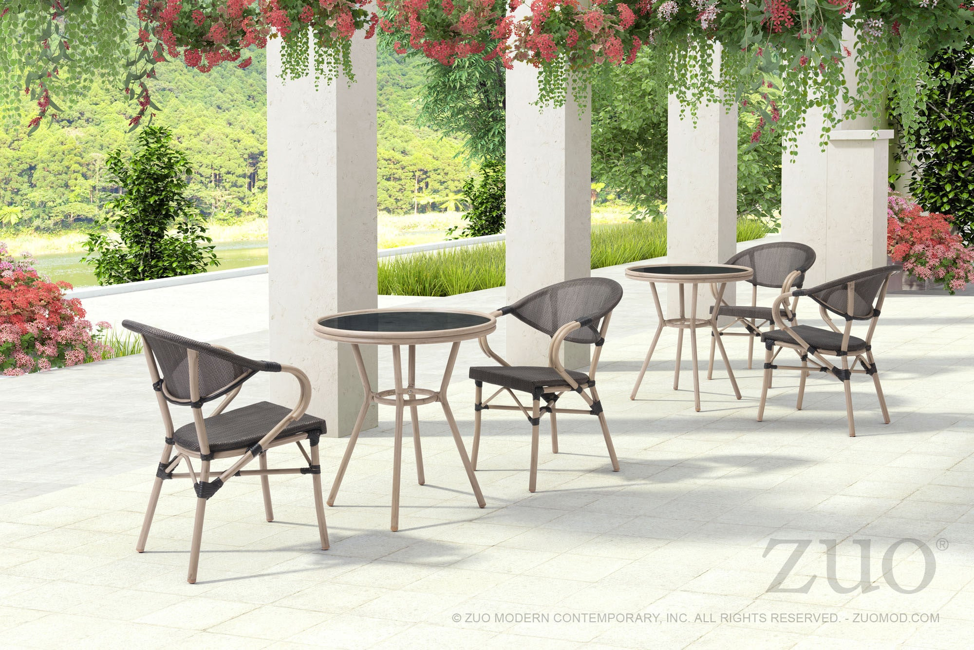 Marseilles Outdoor Bistro Table In Dark Brown Poly Weave On Synthetic Bamboo Frame Bar Tables