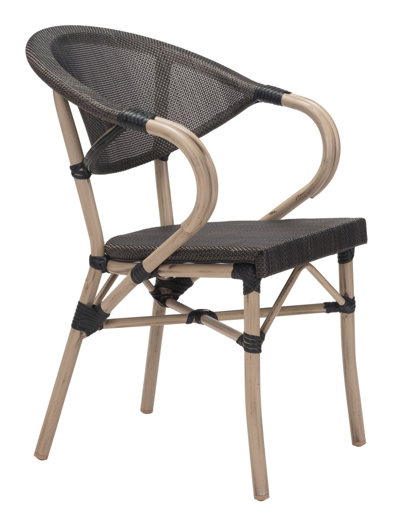 Marseilles Outdoor Dining Chair In Dark Brown Poly Weave On Synthetic