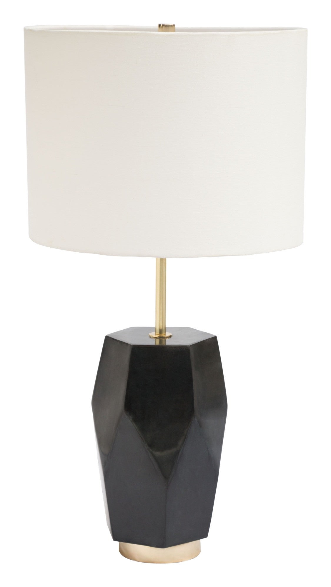 Melrose Table Lamp In Geometric Black Marble With Fabric Shade