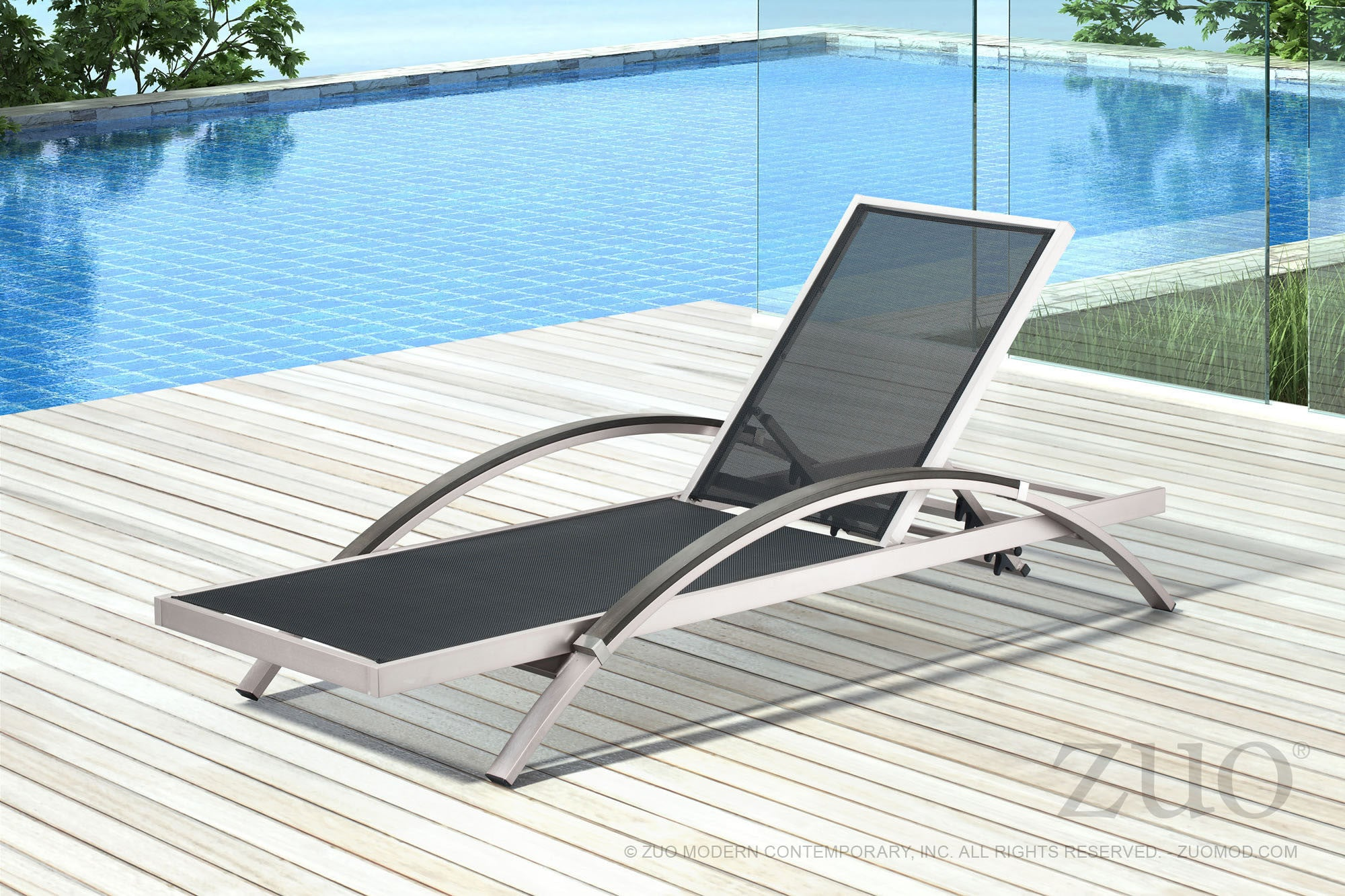 ... Metropolitan Outdoor Chaise Lounge Chair In Brushed Aluminum Outdoor  Lounge Chairs Alan Decor
