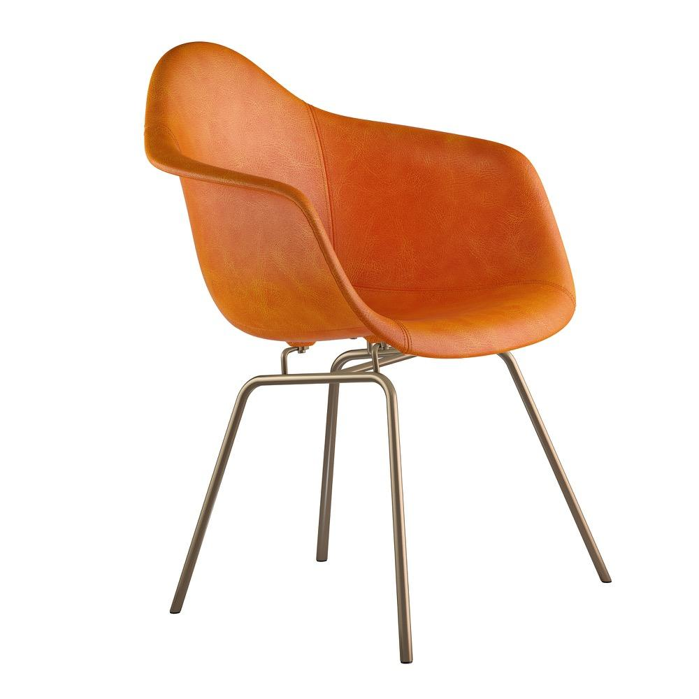 Mid Century Classroom Arm Chair In Burnt Orange Leather With Brushed Brass  Legs Accent Chairs ...
