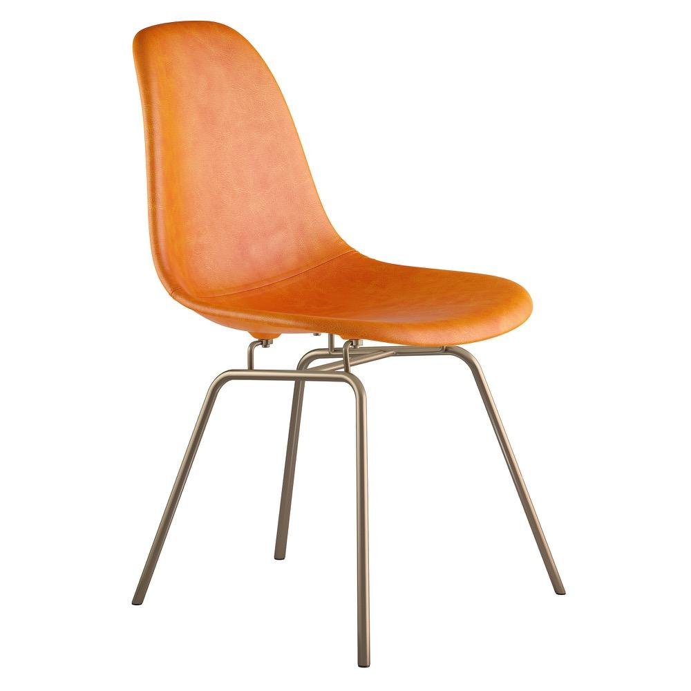 Mid Century Classroom Side Chair In Burnt Orange Leather With Brushed Brass  Legs Accent Chairs ...