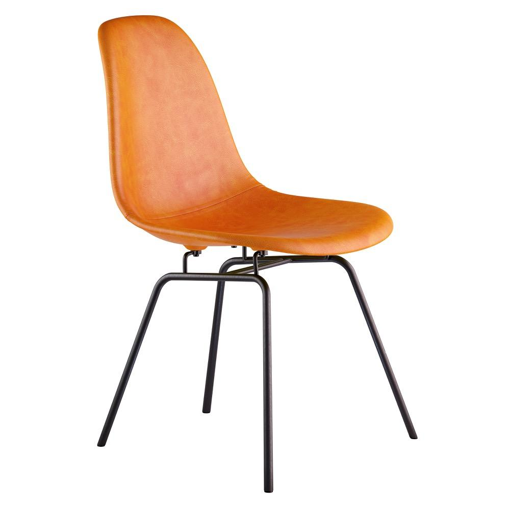 Mid Century Classroom Side Chair In Burnt Orange Leather With Brushed  Gunmetal Legs Accent Chairs ...