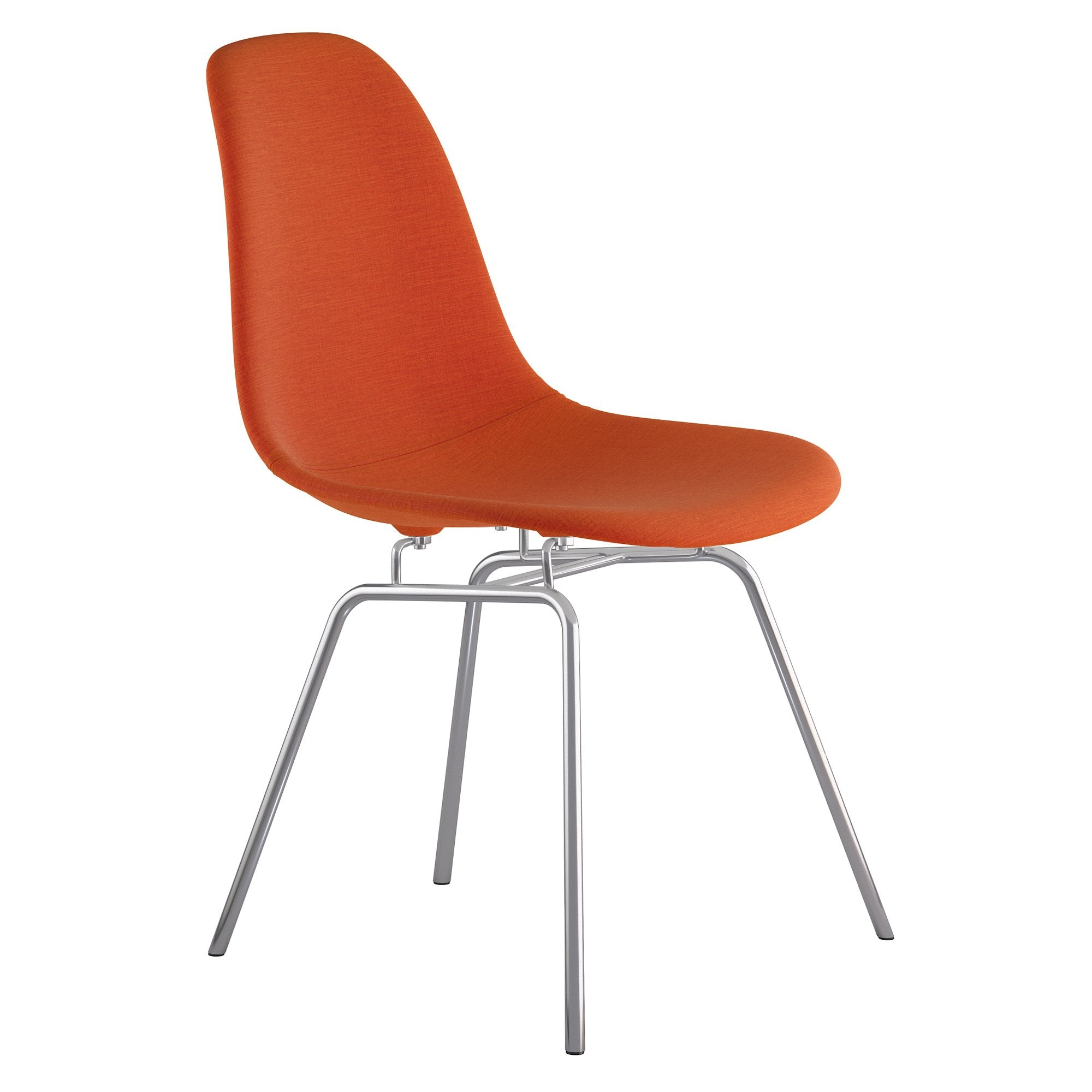 Mid Century Classroom Side Chair In Lava Red Fabric With Brushed Nickel  Legs Accent Chairs ...