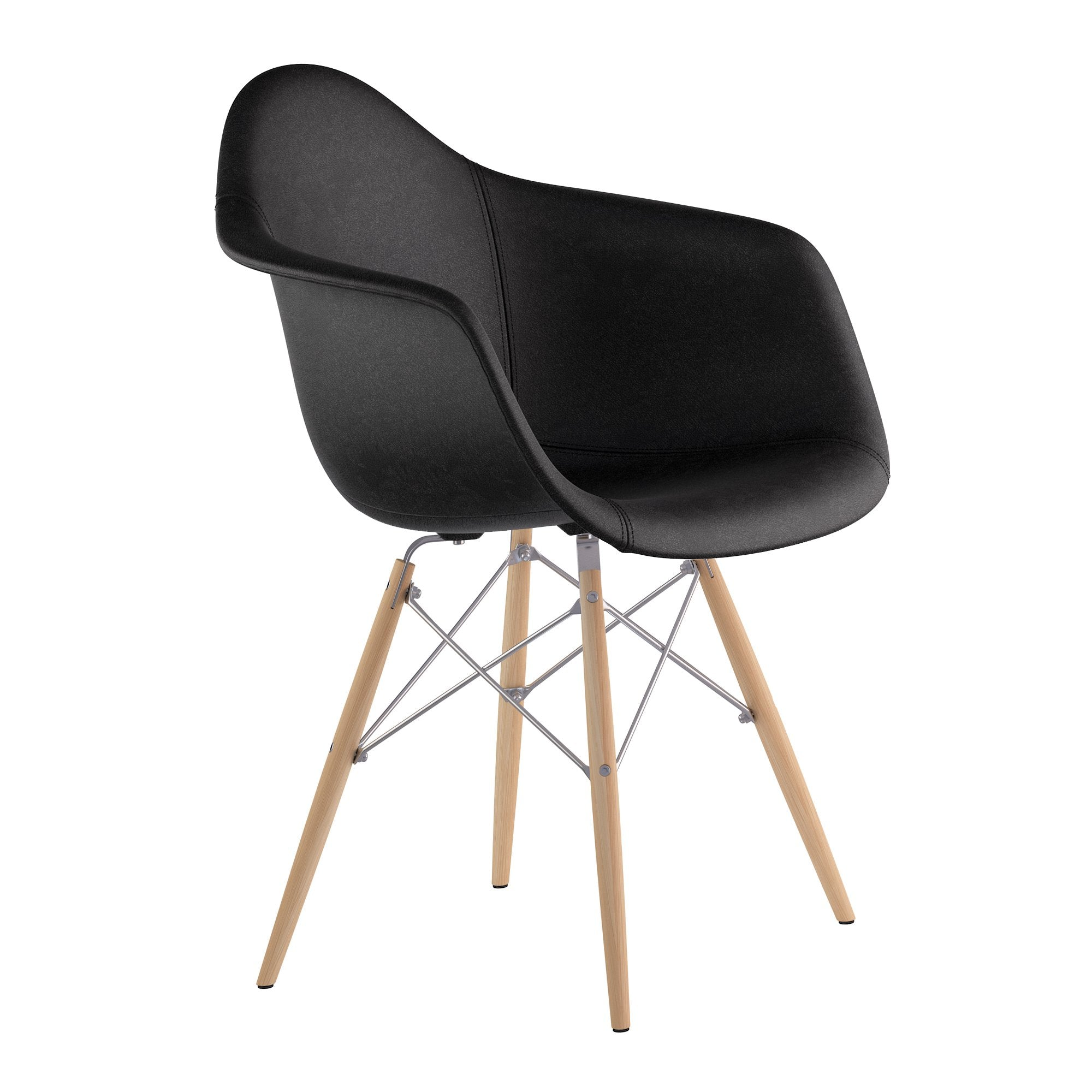 Fantastic Mid Century Dowel Arm Chair In Milano Black Leather With Natural Wood Legs Ibusinesslaw Wood Chair Design Ideas Ibusinesslaworg