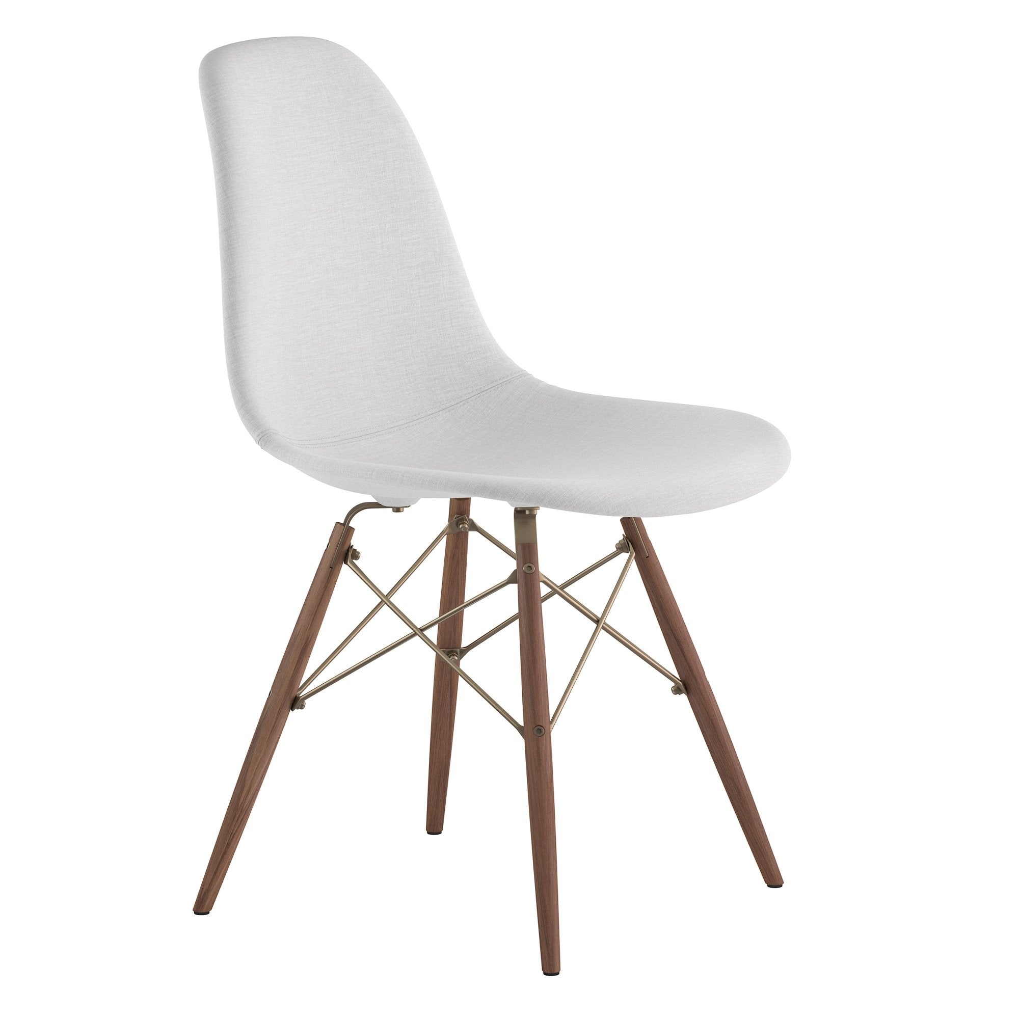 Attrayant Mid Century Dowel Side Chair In Glacier White Fabric With Walnut Wood Legs Accent  Chairs ...