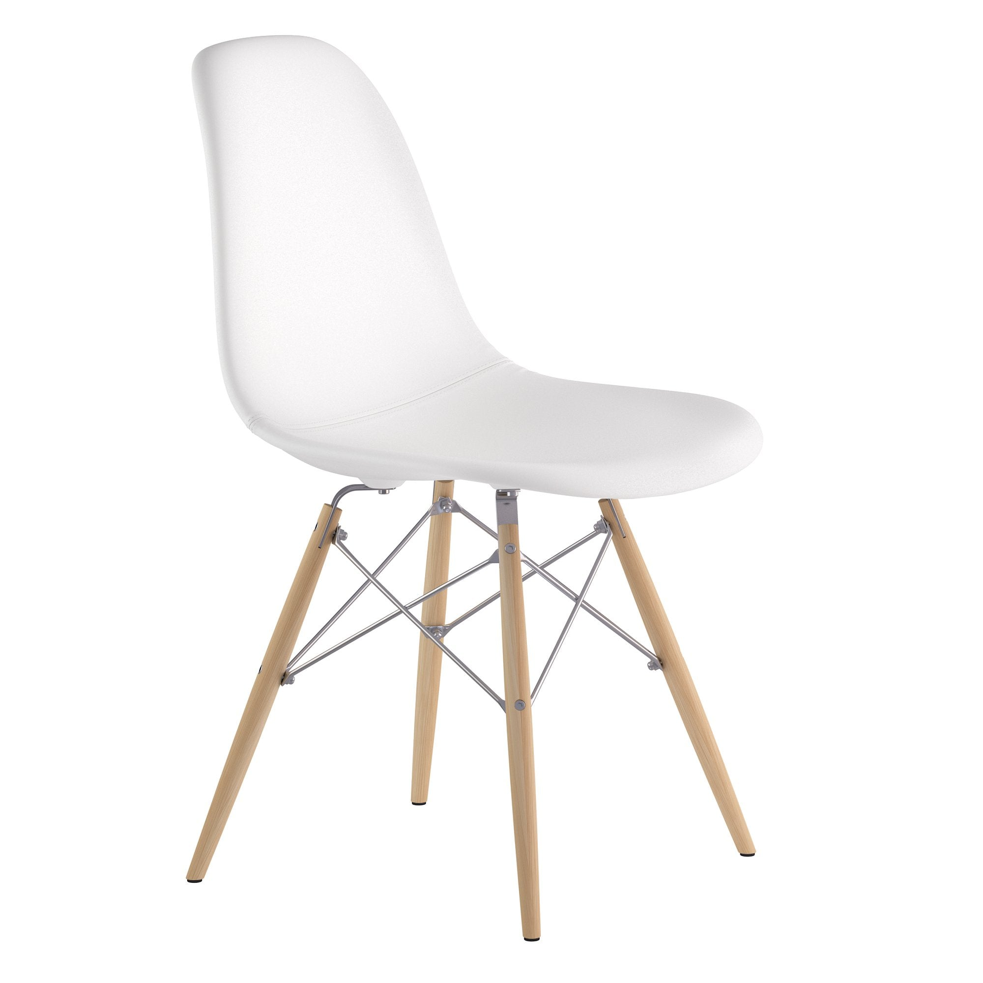 a0949c2f921 Mid Century Dowel Side Chair in Milano White Leather with Natural Wood  Legs-Accent Chairs ...
