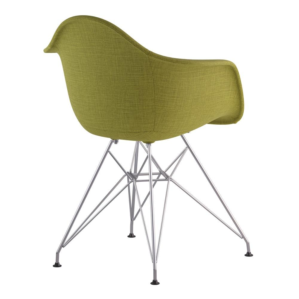 ... Mid Century Eiffel Arm Chair In Avocado Green Fabric With Brushed  Nickel Legs Accent Chairs ...