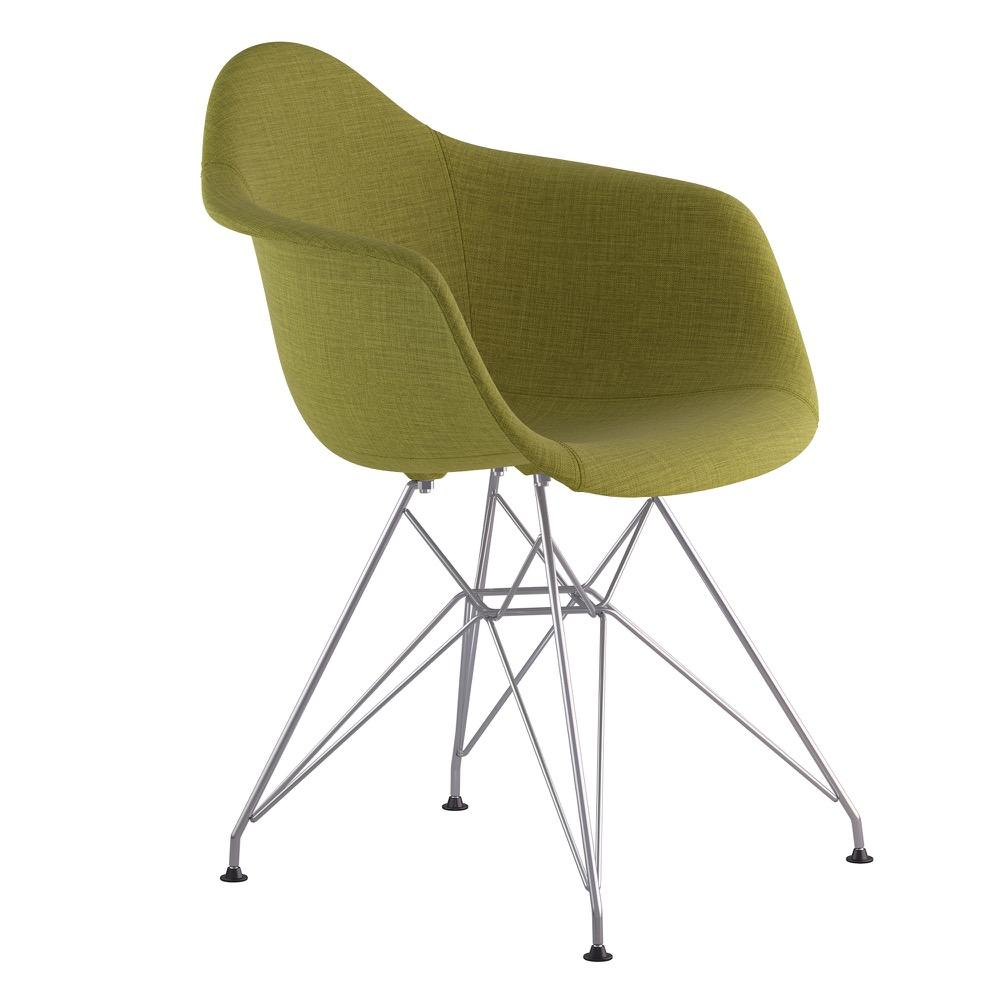 Mid Century Eiffel Arm Chair In Avocado Green Fabric With Brushed Nickel  Legs Accent Chairs ...